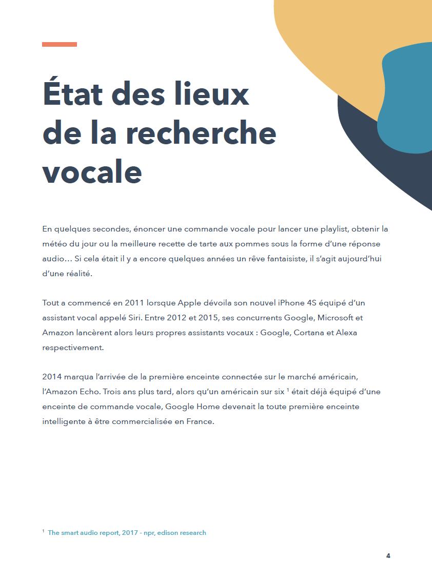 Etat des lieux de la recherche vocale France