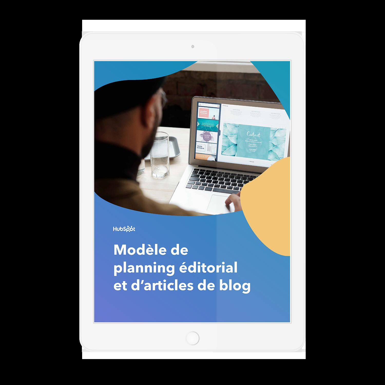 Modèle de calendrier éditorial et d'articles de blog
